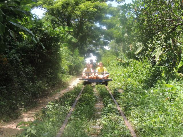 Meeting an oncoming bamboo train