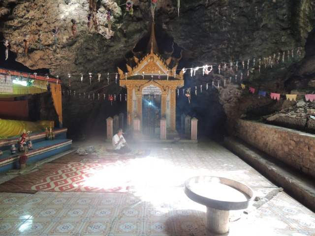 One of the caves, complete with eerie incense and a shrine of skulls